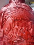 Ваза красного китайского резного лака Китай 50е года . 20в., фото №6