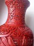 Ваза красного китайского резного лака Китай 50е года . 20в., фото №8
