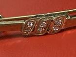 Винтажная серебряная брошь в позолоте с белыми камушками, фото №3