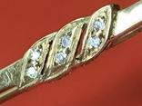 Винтажная серебряная брошь в позолоте с белыми камушками, фото №4