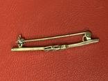 Винтажная серебряная брошь в позолоте с белыми камушками, фото №6