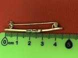 Винтажная серебряная брошь в позолоте с белыми камушками, фото №10