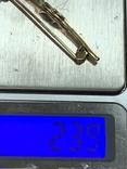 Винтажная серебряная брошь в позолоте с белыми камушками, фото №11