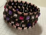Винтажный металический браслет с разноцветными камушками, фото №2