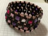 Винтажный металический браслет с разноцветными камушками, фото №3