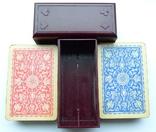 Старые карты для казино в бакелитовом футляре с мастями - 2 колоды., фото №5
