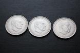 Три серебряные монеты 100 Ptas Песет 1966 год, фото №3