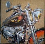 Картина Harley-Davidson. Художник Ellen ORRO. джут/акрил. 50х50, 2019 г., фото №3