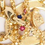 Золотая подвеска TOGETHER FOREVER c натуральными рубинами, сапфирами, изумрудом, фото №5
