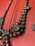 Старые клипсы+ожерелье с кристаллами из горного хрусталя, фото №3