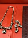 Старые клипсы+ожерелье с кристаллами из горного хрусталя, фото №13