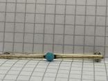 Винтажная серебряная брошь 835 пробы с голубой вставкой, фото №3