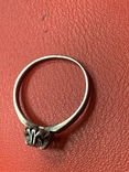 Винтажное серебряное колечко с белым камнем, фото №3