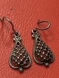 Винтажные серебряные серьги, фото №2
