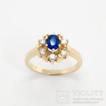 Золотое кольцо с натуральным сапфиром и бриллиантами, фото №2