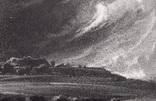 """Гравюра. Дж. Констебл - Лукас. """"Старый Сарум"""". До 1840 года. (35,3 на 25,8 см.). Оригинал. фото 2"""