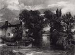"""Гравюра. Дж. Констебл - Лукас. """"Мельничный поток"""". До 1840 г. (42,8 на 29 см.). Оригинал."""