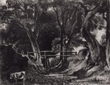 "Гравюра. Дж. Констебл - Лукас. ""Парк в Саффолке"". До 1840 года. (42,8 на 29 см). Оригинал."