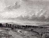 """Гравюра. Дж. Констебл - Лукас. """"Хэмпстед-Хит."""". До 1840 года. (42,8 на 29 см). Оригинал."""