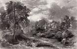 "Гравюра. Дж. Констебл - Лукас. ""Ферма Глеба"". До 1840 года. (42,8 на 29 см). Оригинал."