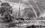 "Гравюра. Дж. Констебл - Лукас. ""Солсбери. Собор"". До 1840 года. (42,8 на 29 см). Оригинал."