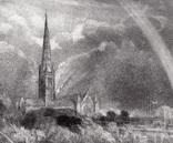 "Гравюра. Дж. Констебл - Лукас. ""Солсбери. Собор"". До 1840 года. (42,8 на 29 см). Оригинал. фото 2"