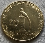 20 кветзалес 1926 год Гватемала золото 33,35 грамм 900', фото №2