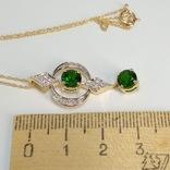 Золотая подвеска с натуральными хромдиобсидами и бриллиантами, фото №6