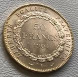 50 франков 1904 года Франция золото 16,12 грамм 900', фото №4