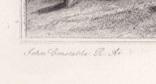 """Гравюра. Дж. Констебл - Лукас. """"Рич Стилс"""". До 1840 года. (42,8 на 29 см). Оригинал. фото 4"""
