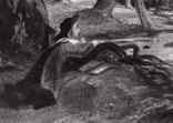 """Гравюра. Дж. Констебл - Лукас. """"Раненый олень"""". До 1840 года. (42,8 на 29 см). Оригинал. фото 2"""