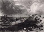 "Гравюра. Дж. Констебл - Лукас. "" Вереск"". До 1840 года. (42,8 на 29 см). Оригинал."
