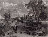 """Гравюра. Дж. Констебл - Лукас. """"Флэтфордская мельница"""". До 1840 года. (42,8 на 29 см)."""