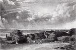 "Гравюра. Дж. Констебл - Лукас. ""Летняя земля"". До 1840 года. (42,8 на 29 см). Оригинал."