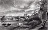 "Гравюра. Дж. Констебл - Лукас. ""Летний вечер"". До 1840 года. (42,8 на 29 см). Оригинал."