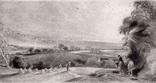 "Гравюра. Дж. Констебл - Лукас. ""Осенний закат"". До 1840 года. (42,8 на 29 см). Оригинал."