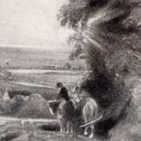 """Гравюра. Дж. Констебл - Лукас. """"Осенний закат"""". До 1840 года. (42,8 на 29 см). Оригинал. фото 2"""