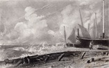 """Гравюра. Дж. Констебл - Лукас. """" Морской пляж"""". До 1840 года. (42,8 на 29 см). Оригинал."""