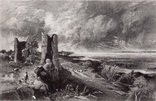 """Гравюра. Дж. Констебл - Лукас. """"Замок Хадли"""". До 1840 года. (42,8 на 29 см). Оригинал."""