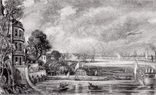 """Гравюра. Дж. Констебл - Лукас. """" Открытие моста Ватерлоо"""". До 1840 года. (42,8 на 29 см)."""