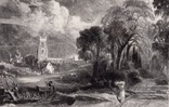 "Гравюра. Дж. Констебл - Лукас. ""Сток-бай-Нейленд"". До 1840 года. (42,8 на 29 см)."