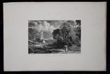 """Гравюра. Дж. Констебл - Лукас. """"Сток-бай-Нейленд"""". До 1840 года. (42,8 на 29 см). фото 7"""