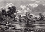 "Гравюра. Дж. Констебл - Лукас. ""Река Стаур"". До 1840 года. (42,8 на 29 см). Оригинал."