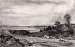 """Гравюра. Дж. Констебл - Лукас. """"Летнее утро"""". До 1840 года. (42,8 на 29 см). Оригинал. фото 1"""
