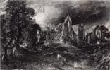 "Гравюра. Дж. Констебл - Лукас. ""Замок"". До 1840 года. (42,8 на 29 см). Оригинал."