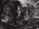 """Гравюра. Дж. Констебл - Лукас. """"Замок"""". До 1840 года. (42,8 на 29 см). Оригинал. фото 3"""