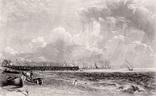 """Гравюра. Дж. Констебл - Лукас. """"Ярмут, Норфолк"""". До 1840 года. (42,8 на 29 см). Оригинал."""