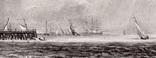 """Гравюра. Дж. Констебл - Лукас. """"Ярмут, Норфолк"""". До 1840 года. (42,8 на 29 см). Оригинал. фото 2"""