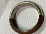 Винтажный браслет дерево металл, фото №5