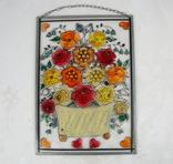 Винтажный витраж Цветы. Подвесное панно. Германия., фото №3